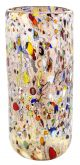VASO CILINDRICO ARLECCHINO BIG Vase Glas Blattsilber Murrine Made Italy Venedig Murano
